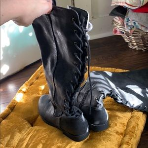 Shoes - Black lace up (in the back) boots